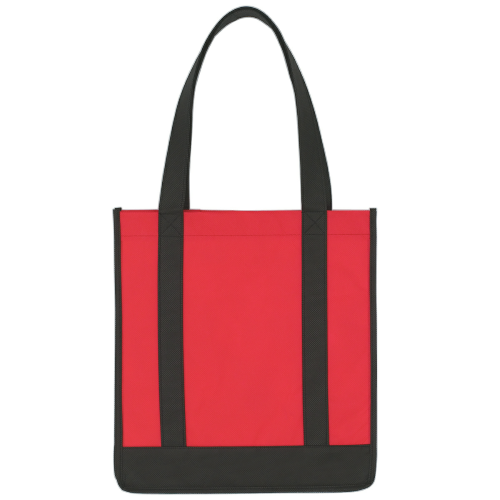 Red/black Non-Woven Two-Tone Shopper Tote Bag as seen from the front