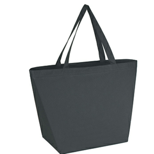 Black Non-Woven Budget Shopper Tote Bag as seen from the front