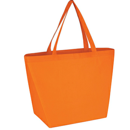 Orange Non-Woven Budget Shopper Tote Bag as seen from the front