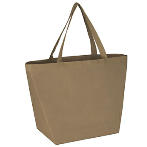 Tan Non-Woven Budget Shopper Tote Bag as seen from the front