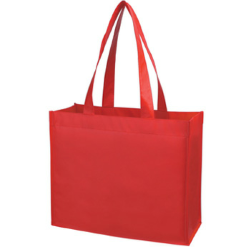 Red Matte Laminated Non-Woven Shopper Tote as seen from the front