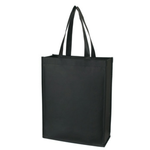 Black Matte Laminated Non-Woven Shopper Tote as seen from the front
