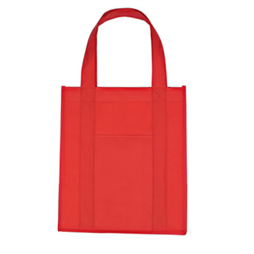 Red Matte Laminated Non-Woven Shopper Tote Bag as seen from the front