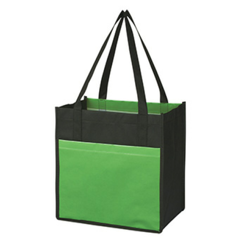 Lime Green Lami-Combo Shopper Tote as seen from the front