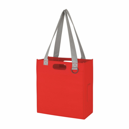 Red Non-Woven Expedia Tote Bag as seen from the front