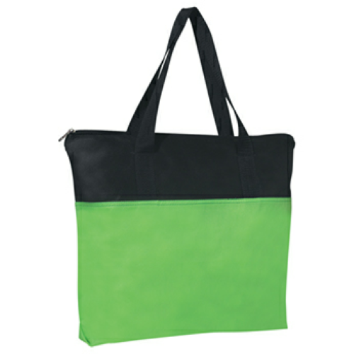 Lime Green Non-Woven Zippered Tote Bag as seen from the front