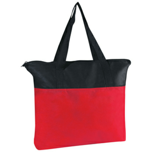 Red Non-Woven Zippered Tote Bag as seen from the front