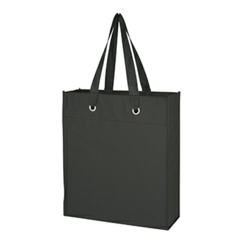 Black Non-Woven Grommet Tote as seen from the front