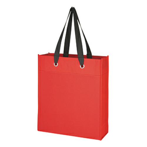 Red Non-Woven Grommet Tote as seen from the front