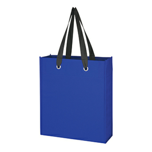 Royal Blue Non-Woven Grommet Tote as seen from the front