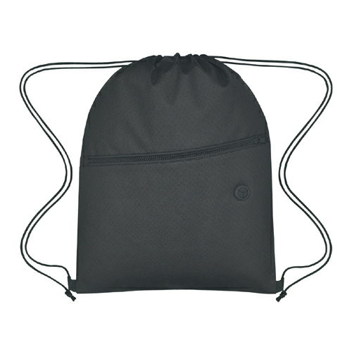 Black Non-Woven Sports Pack With Front Zipper as seen from the front