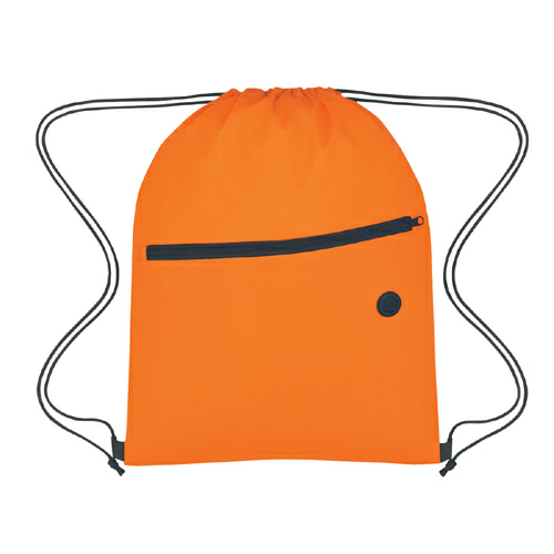 Orange Non-Woven Sports Pack With Front Zipper as seen from the front