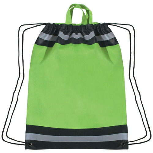 Lime Green Large Non-Woven Reflective Sports Pack as seen from the front