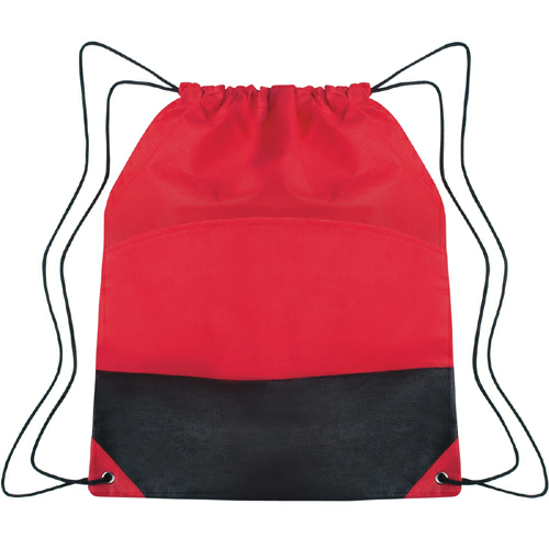 Red Non-Woven Two-Tone Drawstring Sports Pack as seen from the front