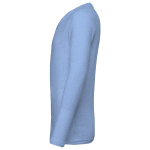 Blue Triblend Men's Jersey Long-Sleeve V-Neck T-Shirt as seen from the sleeveright