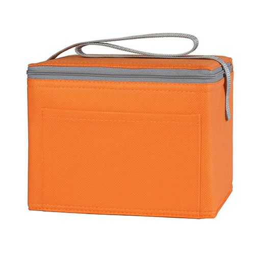 Orange Non-Woven Six Pack Kooler Bag as seen from the front