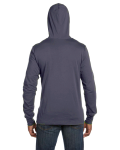 Heather Navy Unisex Jersey Long-Sleeve Hoodie as seen from the back