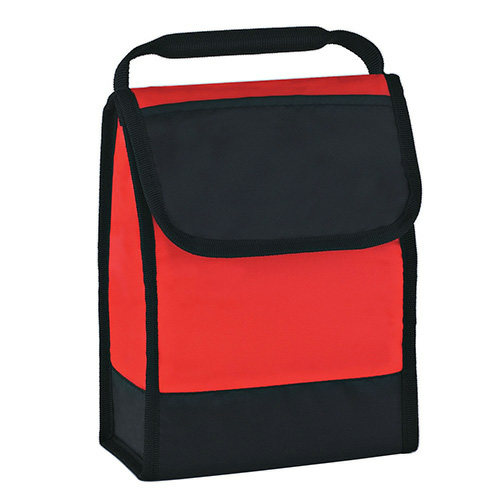 Red Folding Identification Lunch Bag as seen from the front