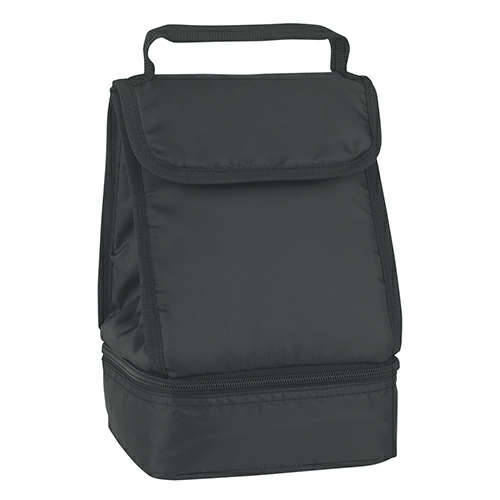 Black Dual Compartment Lunch Bag as seen from the front