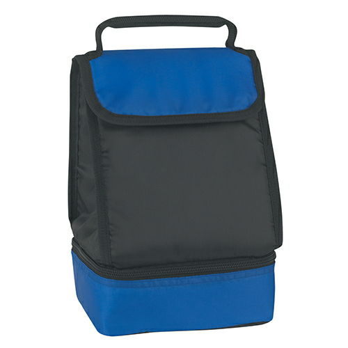 Royal Blue Dual Compartment Lunch Bag as seen from the front