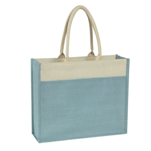 Light Blue Jute Tote With Front Pocket as seen from the front