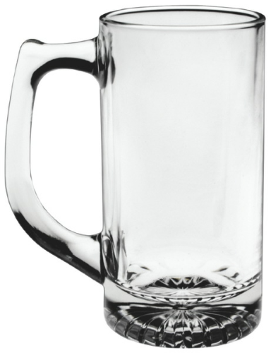 Clear 12 oz. Starburst Sport Tankard as seen from the front