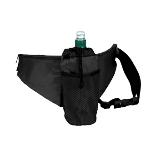 Black Water Bottle Fanny Pack as seen from the front