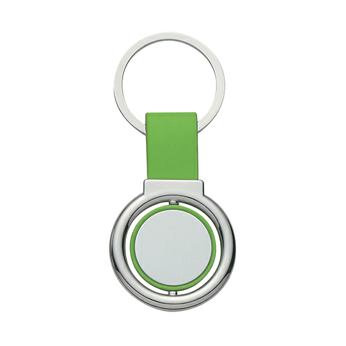 Lime Green Circular Metal Spinner Key Tag as seen from the front