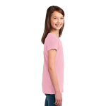 Rose Pink Organic Youth Short Sleeve Crew Tee as seen from the sleeveright