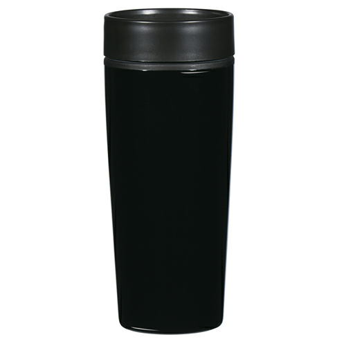 Black 14 Oz. Stainless Steel Glossy Tumbler as seen from the front