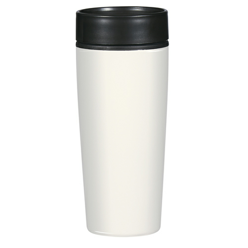 White 14 Oz. Stainless Steel Glossy Tumbler as seen from the front
