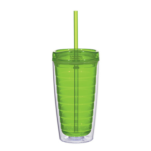 Lime Green Econo 16 Oz. Double Wall Tumbler With Lid And Straw as seen from the front