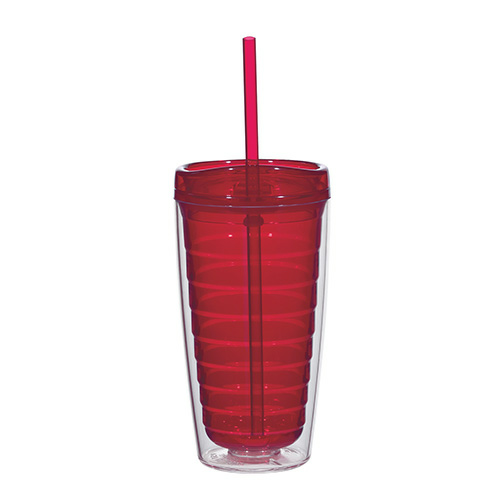 Red Econo 16 Oz. Double Wall Tumbler With Lid And Straw as seen from the front