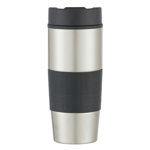 Black 18 Oz. Stainless Steel Gripper Bottle as seen from the front