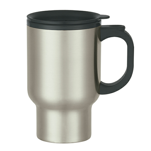Stainless Steel 16 Oz. Stainless Steel Travel Mug With Sip-Thru Lid And Plastic Inner Liner as seen from the front