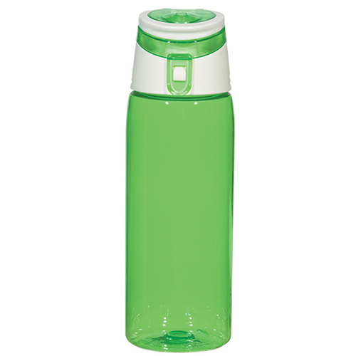Translucent Green 24 Oz. Flip Top Sports Bottle as seen from the front