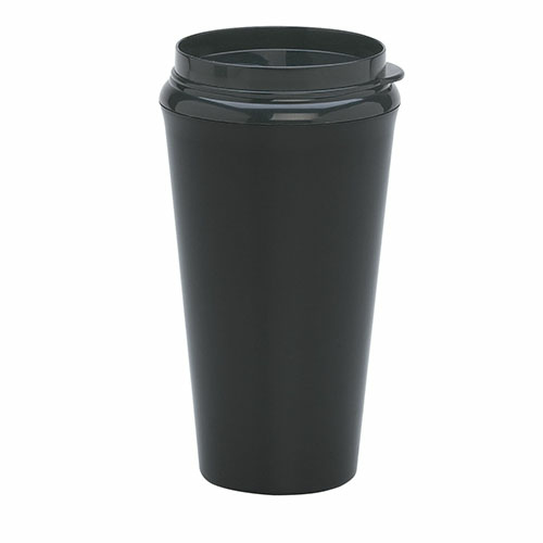 Metallic Black 16 Oz. Infinity Tumbler With Plastic Sip Thru Lid as seen from the front