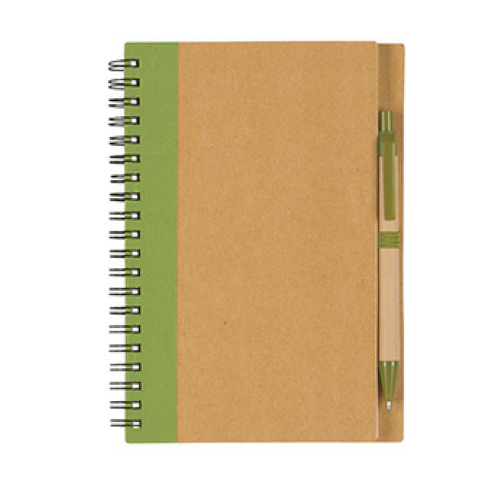 Lime Green Eco-Inspired Spiral Notebook & Pen as seen from the front