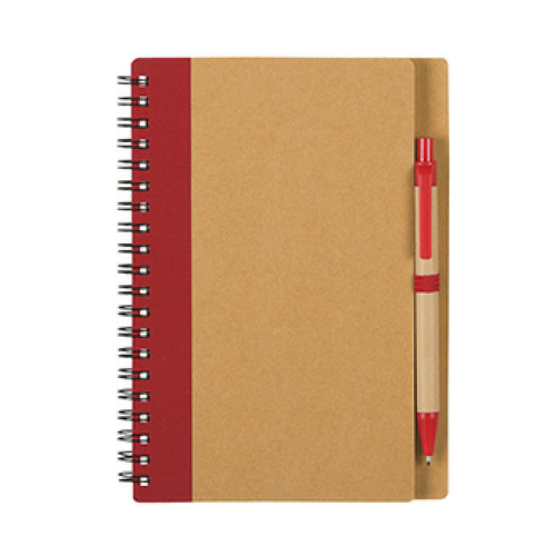 Red Eco-Inspired Spiral Notebook & Pen as seen from the front