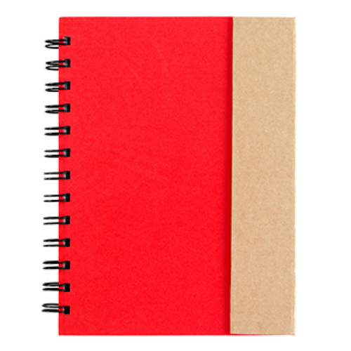 Red Spiral Notebook With Sticky Notes And Flags as seen from the front