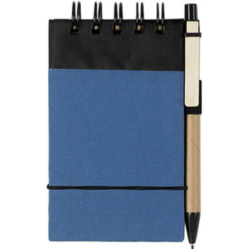Blue With Black Eco-Friendly Spiral Jotter & Pen as seen from the front