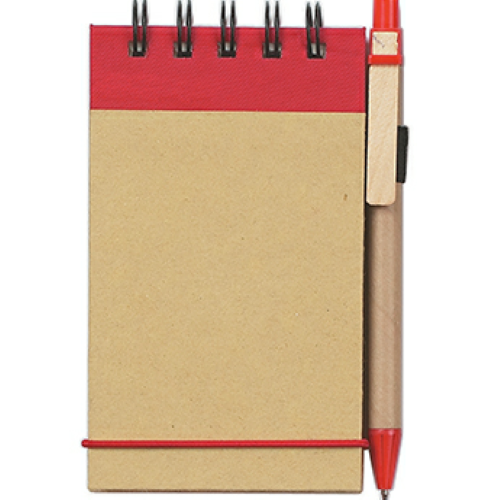 Natural With Red Eco-Friendly Spiral Jotter & Pen as seen from the front