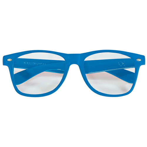 Blue/clear Full Color Lens Glasses as seen from the front