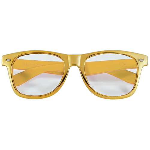 Gold/clear Full Color Lens Glasses as seen from the front