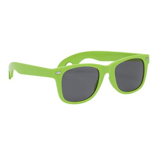 Lime Green Bottle Opener Malibu Sunglasses as seen from the front