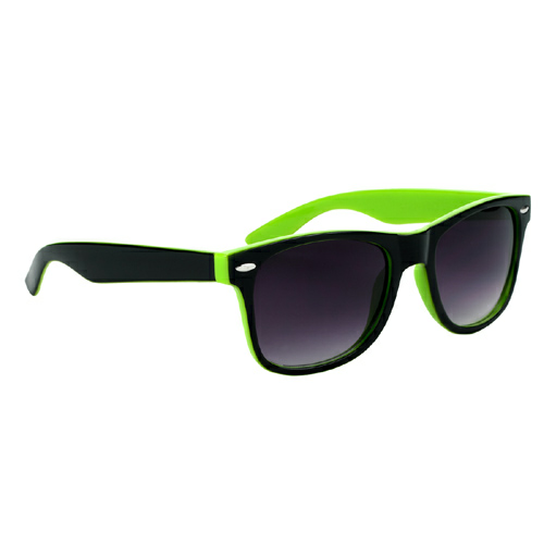 Lime Green With Black Trim Two-Tone Malibu Sunglasses as seen from the front