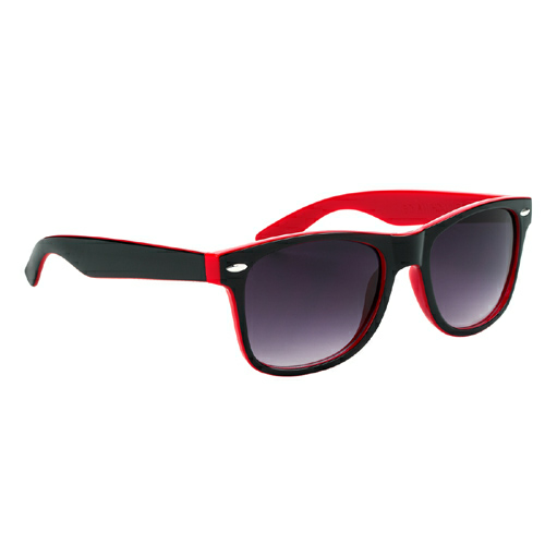 Red With Black Trim Two-Tone Malibu Sunglasses as seen from the front