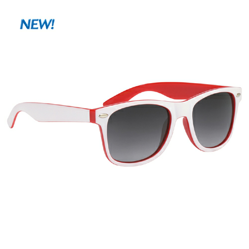 Red With White Trim Two-Tone Malibu Sunglasses as seen from the front