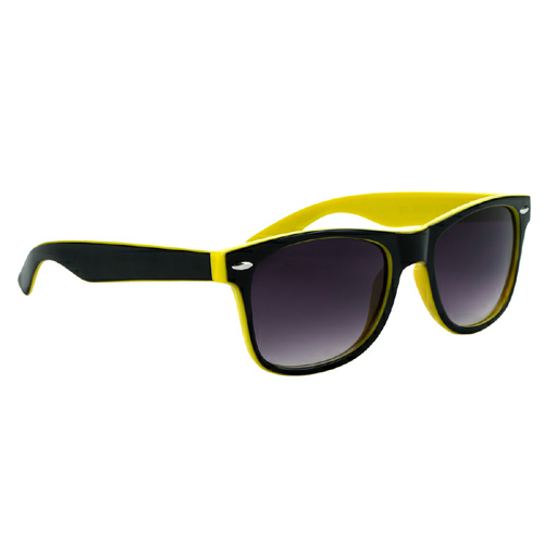Yellow With Black Trim Two-Tone Malibu Sunglasses as seen from the front