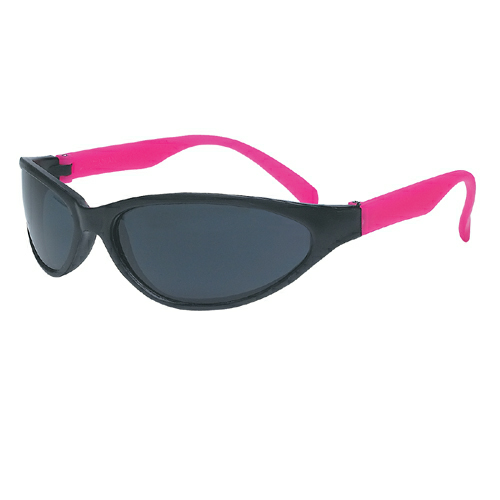 Neon Pink Wave Rubberized Sunglasses as seen from the front